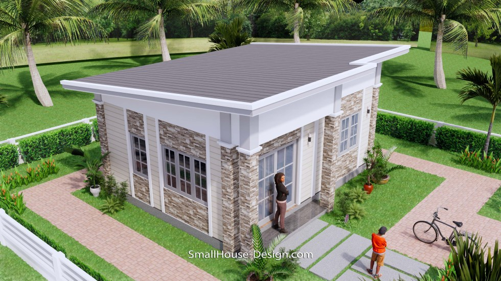 Small House Design 7x6 Shed Roof 1 Bed PDF Full Plans 5