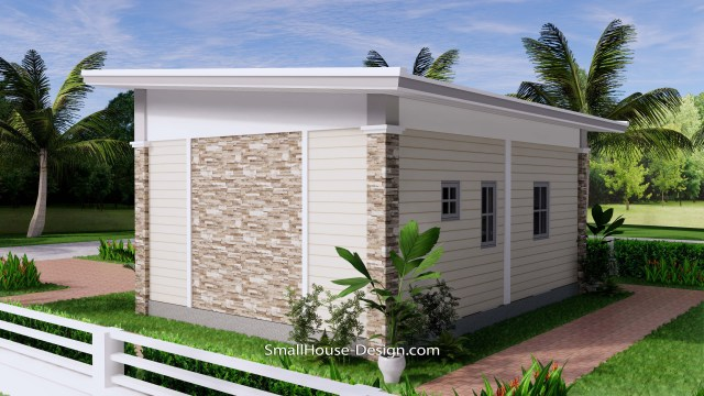 Small House Design 7x6 Shed Roof 1 Bed PDF Full Plans 7