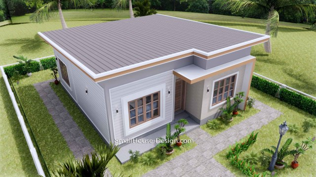 Small House Plan 27x30 with 2 Bedrooms Shed Roof 3d roof