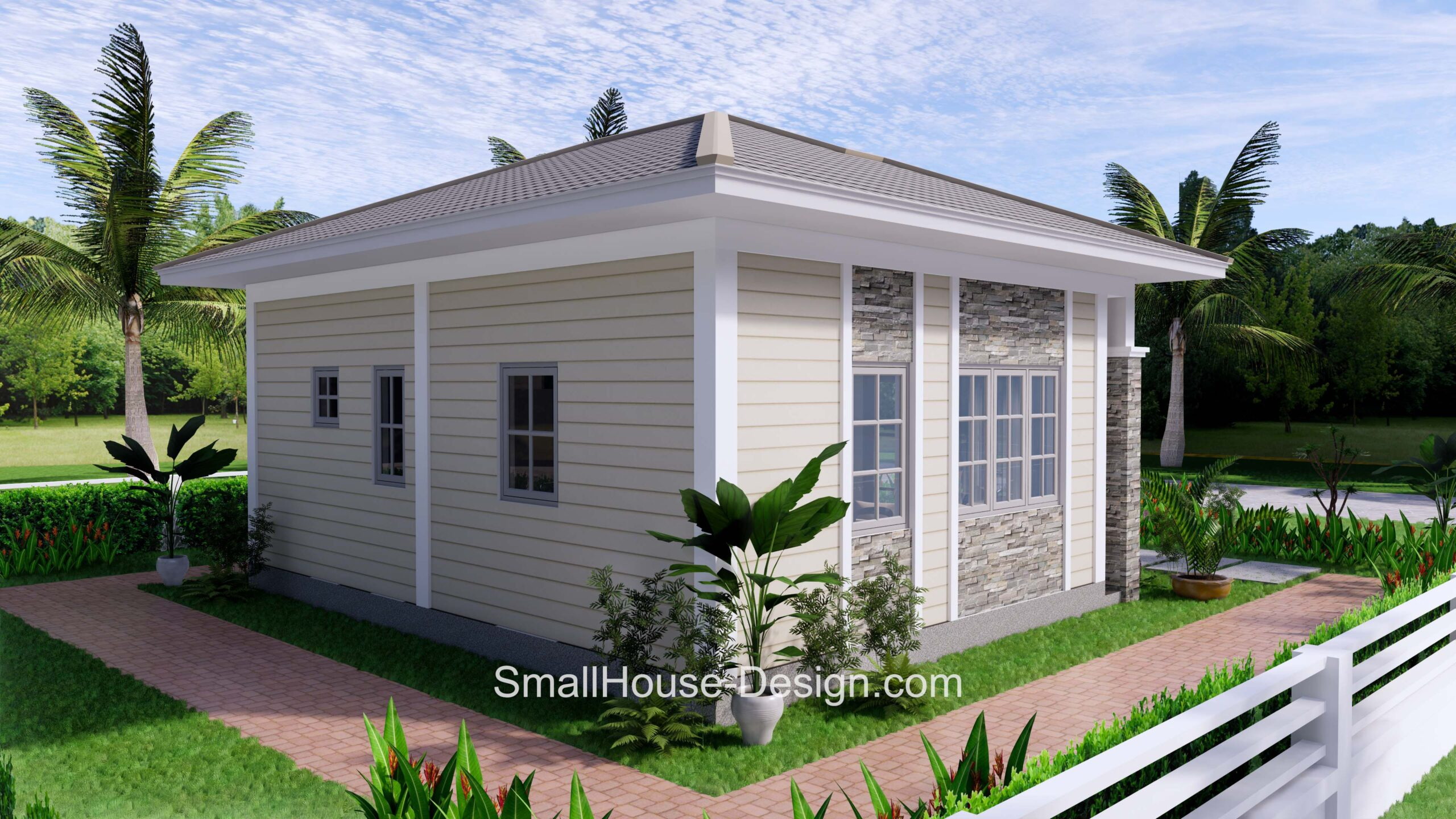 Small House Plan 7x6 Meters 1 Bed Hip Roof 5