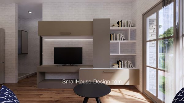 Small House Plan 7x6 Meters 1 Bed Hip Roof Living room 2
