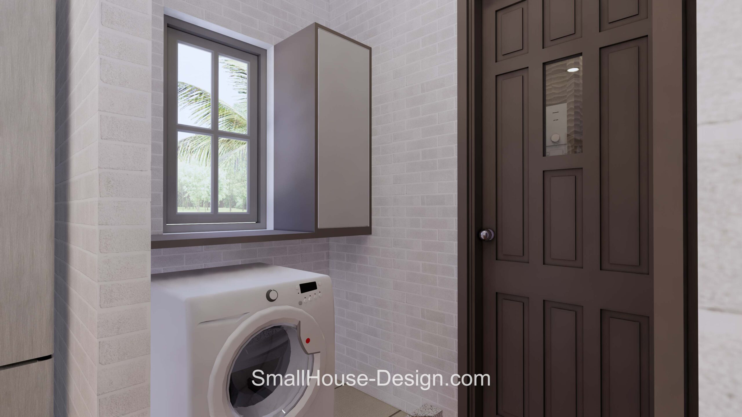 Small House Plan 7x6 Meters 1 Bed Hip Roof washing room