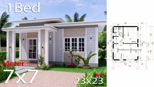 Small House Plan 7x7 with 1 Bedroom Flat Roof