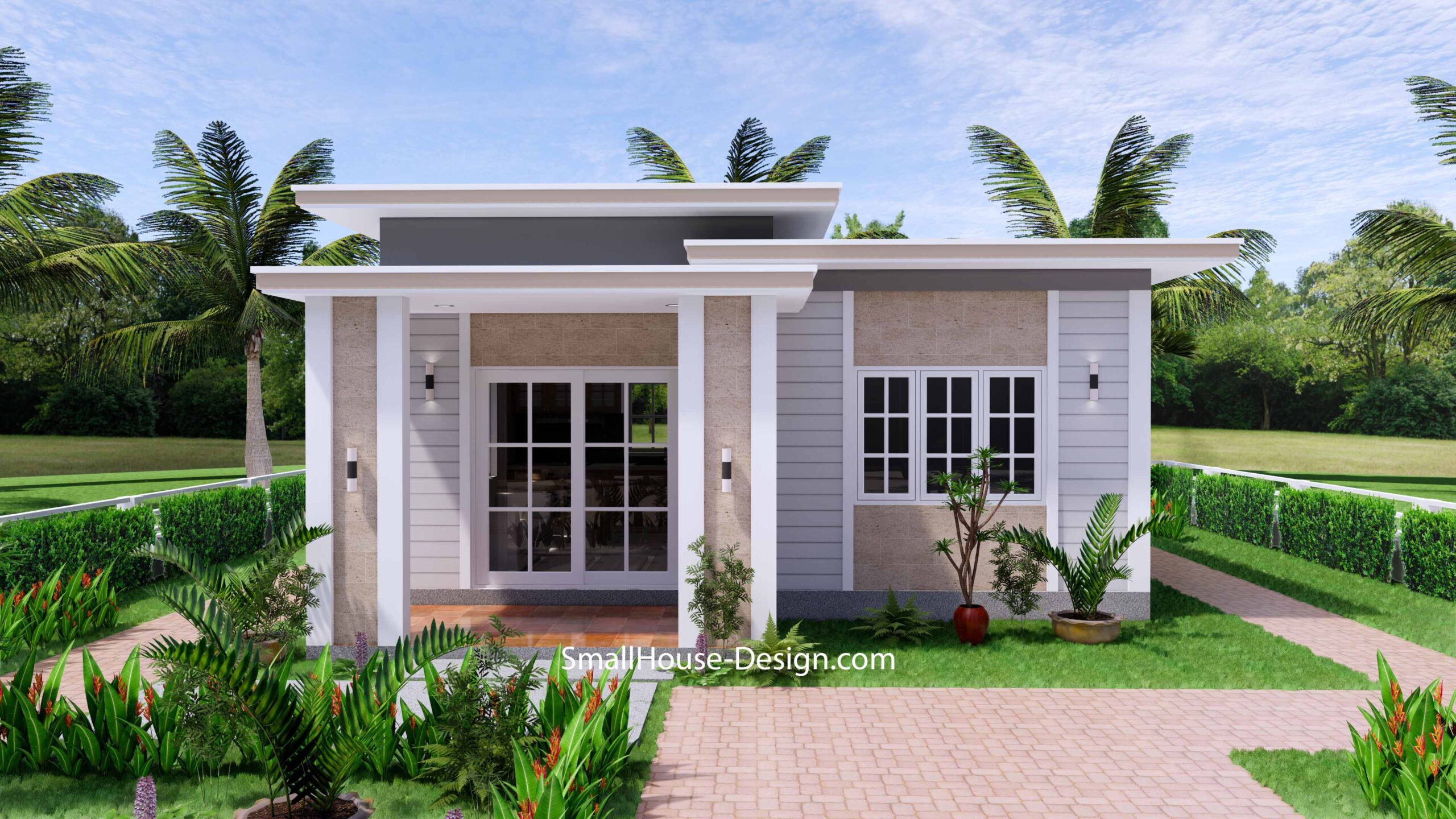 Small House Plan 7x7 with 1 Bedrooms Flat Roof 2
