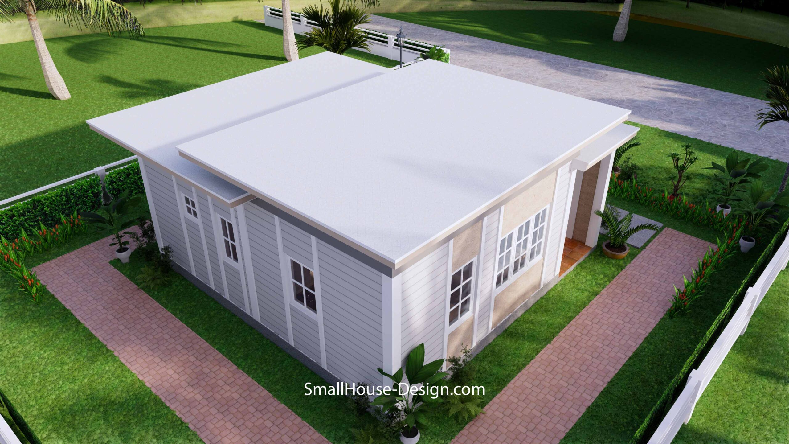Small House Plan 7x7 with 1 Bedrooms Flat Roof8