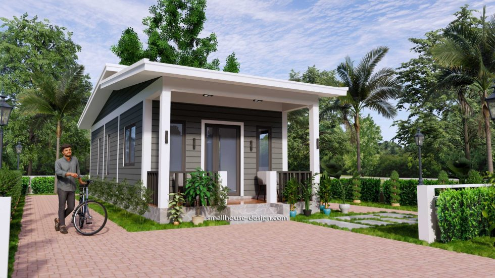 15x40 Small House Design 2 Bedrooms Shed Roof 1