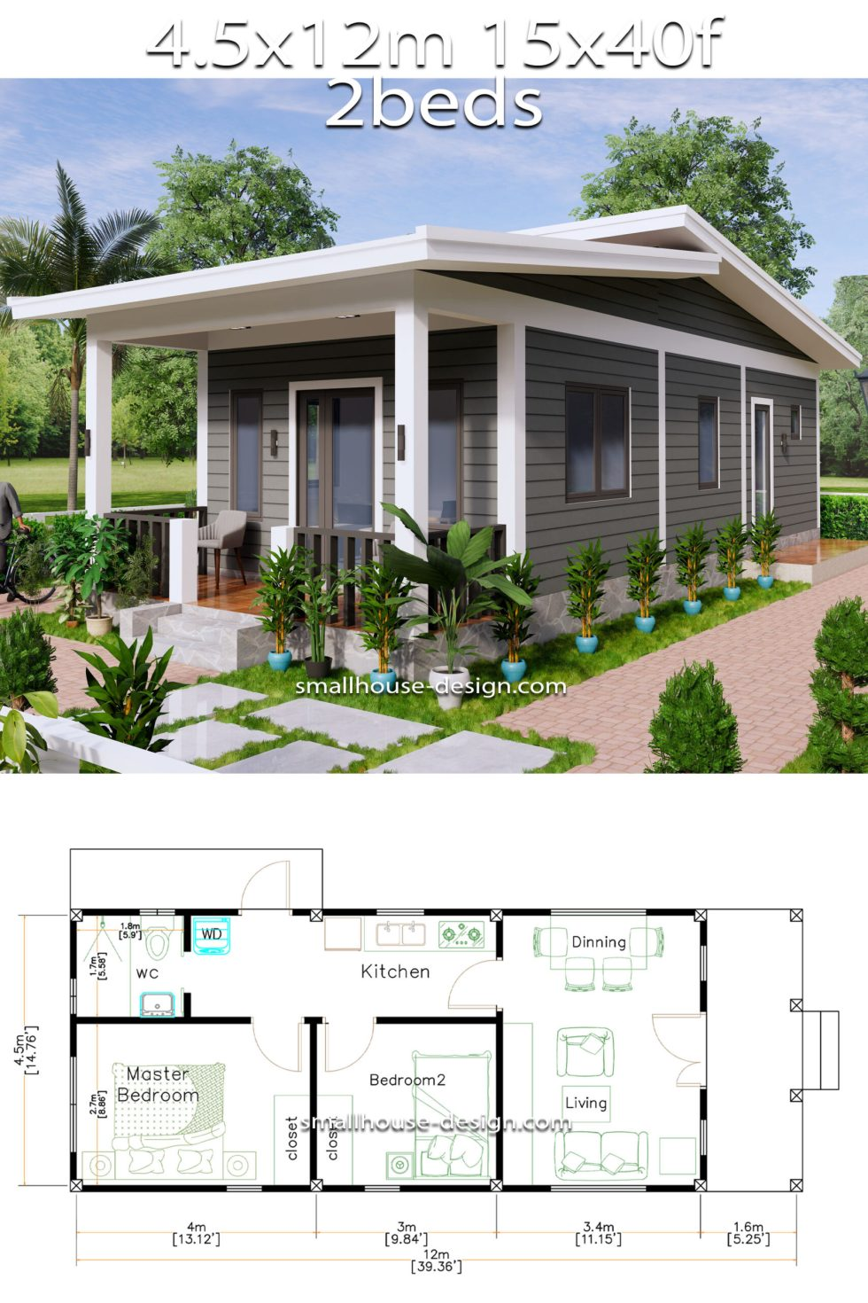 15x40 Small House Design 2 Bedrooms Shed Roof full Detailing plan