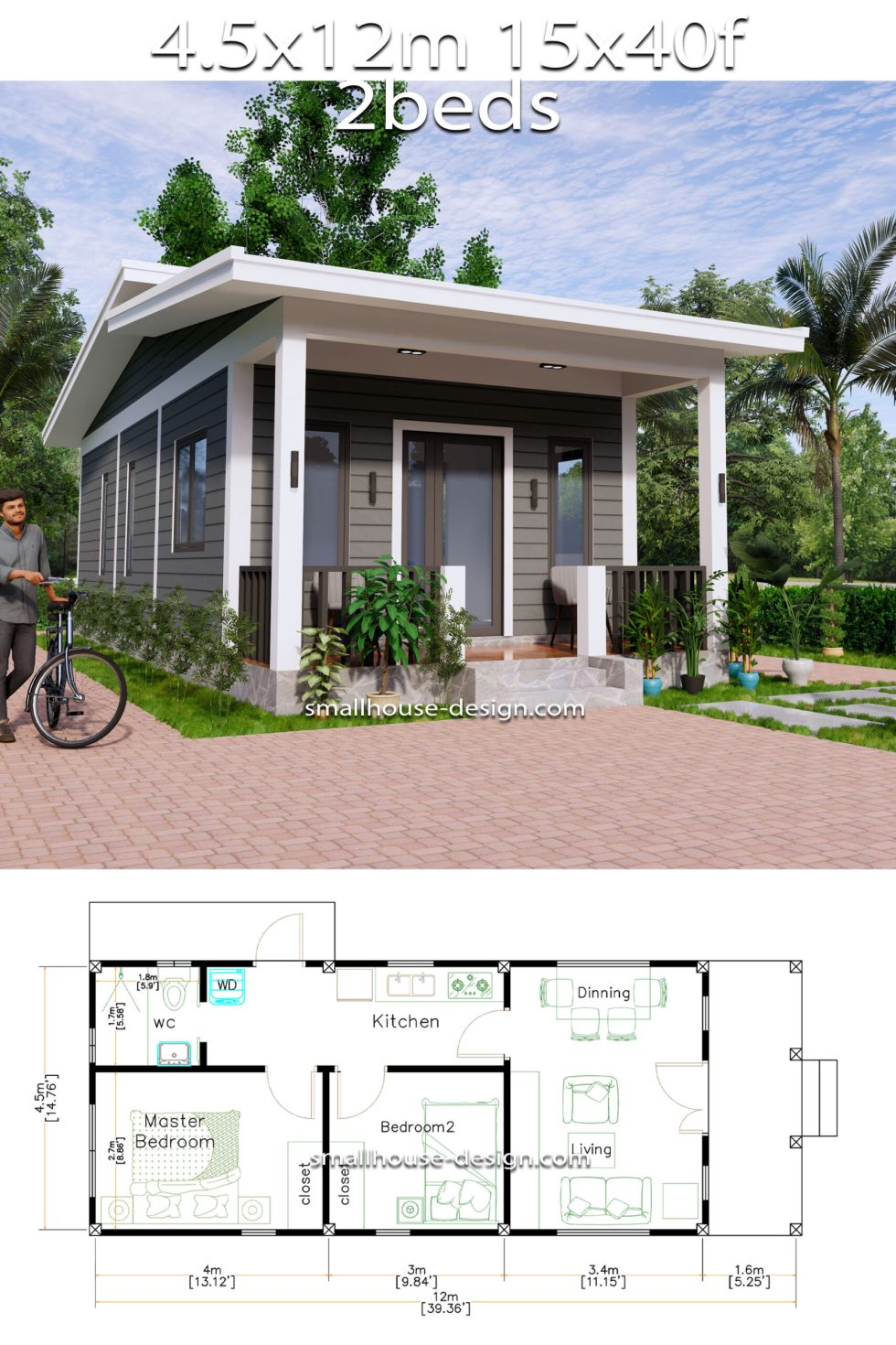 15x40 Small House Design 2 Bedrooms Shed Roof full plan
