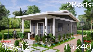 15x40 Small House Design 2 Bedrooms Shed Roof
