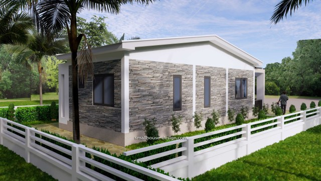 15x40 Small House Plans 2 Beds Gable Roof Full Plans 6