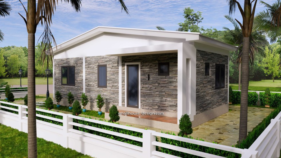 15x40 Small House Plans 2 Beds Gable Roof Full Plans 7