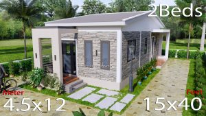 15x40 Small House Plans 2 Beds Gable Roof Full Plans Pdf detailing
