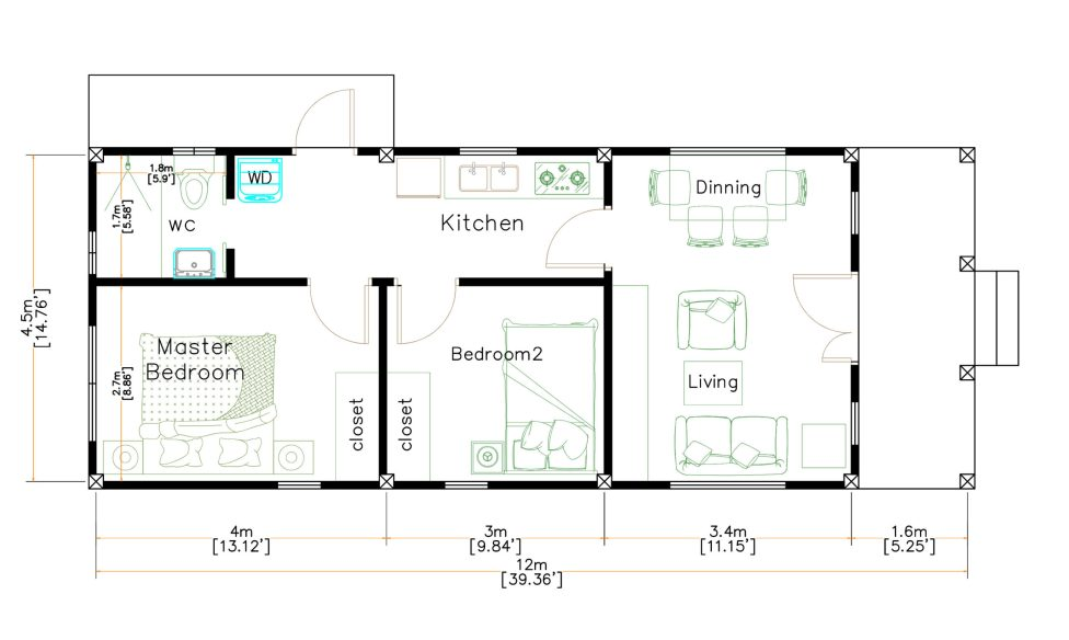 15x40 Small House Design 2 Bedrooms Shed Roof floor plan