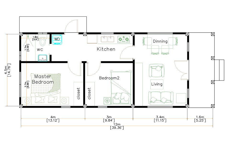 Small House Plans 4.5x12 Meters 2 Beds Gable Roof Style floor plan