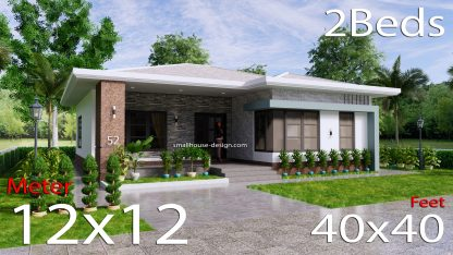 House Design Plans 12x12 Hip Roof 2 Bedrooms