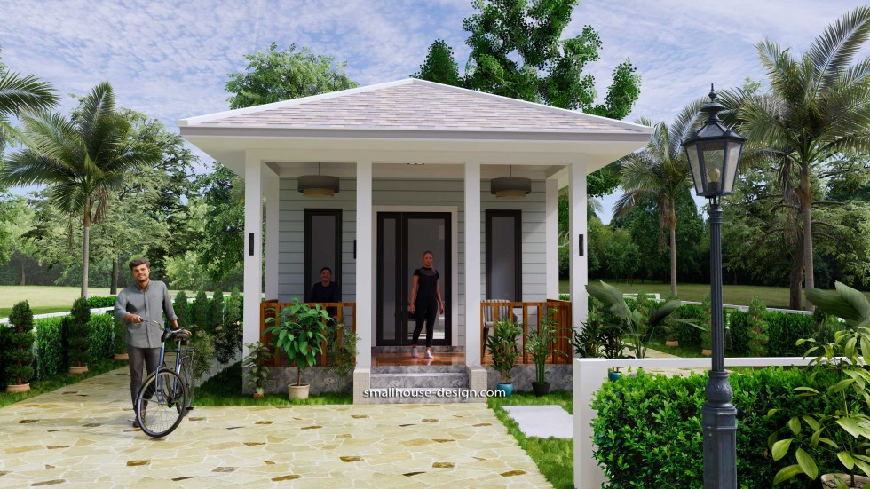 Small House Design 4.5x12 Meters 2 Beds Hip Roof 2