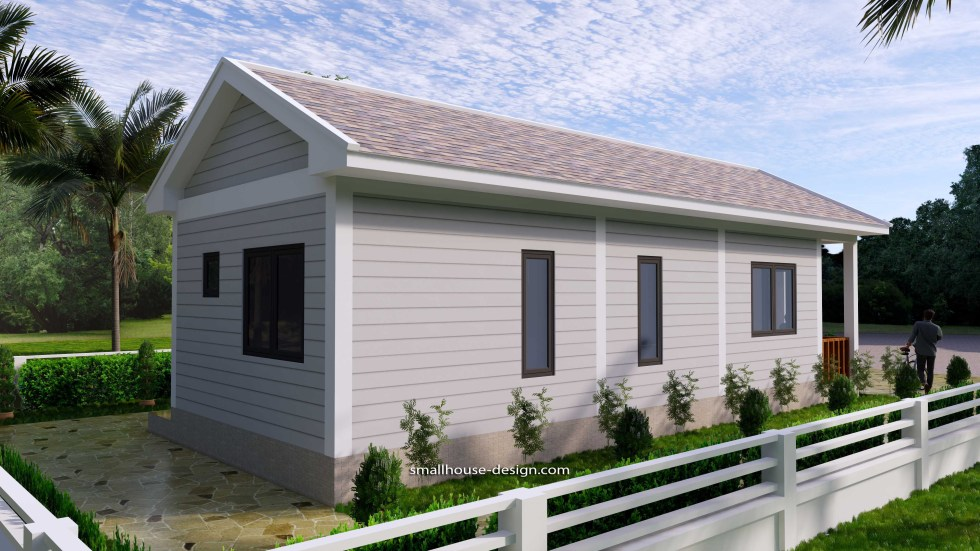 Small House Plans 4.5x12 Meters 2 Beds Gable Roof Style 6