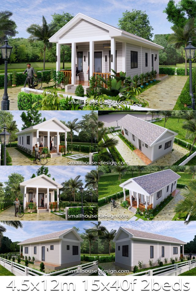 Small House Plans 4.5x12 Meters 2 Beds Gable Roof Style Pin 1