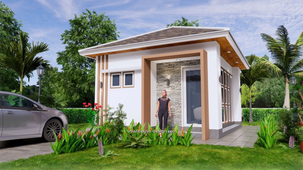 Small House Plans 5x6 M Hip Roof One Bedroom 1