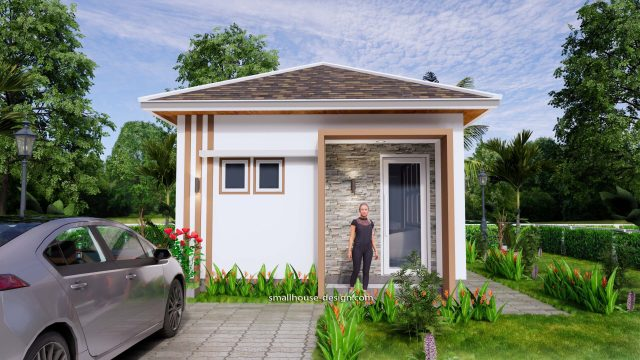 Small House Plans 5x6 M Hip Roof One Bedroom 2