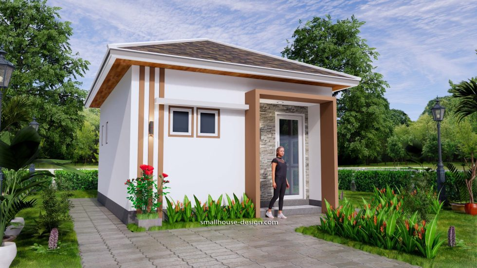 Small House Plans 5x6 M Hip Roof One Bedroom 3