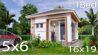 Small House Plans 5x6 M Hip Roof One Bedroom