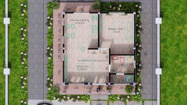 7x7 Meters Small House Design One Bedrooms 3d floor plan
