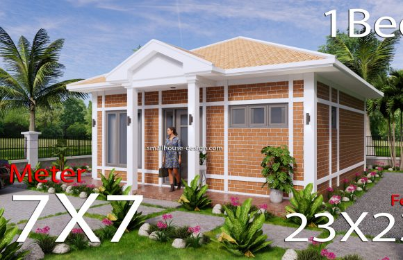 7×7 Small House Plans with One Beds Full Layout