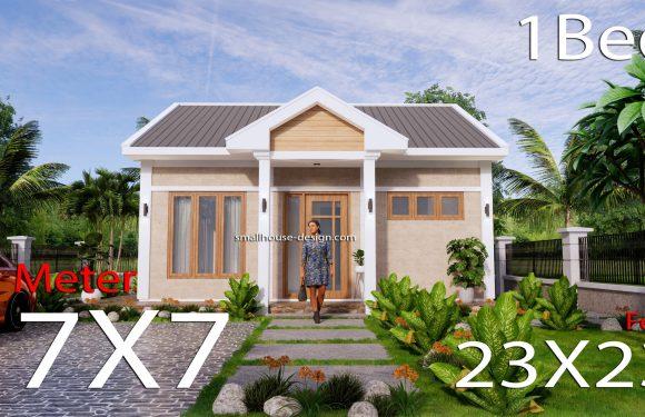 7x7m House Plans One Bed Full Plans 3d PDF plan