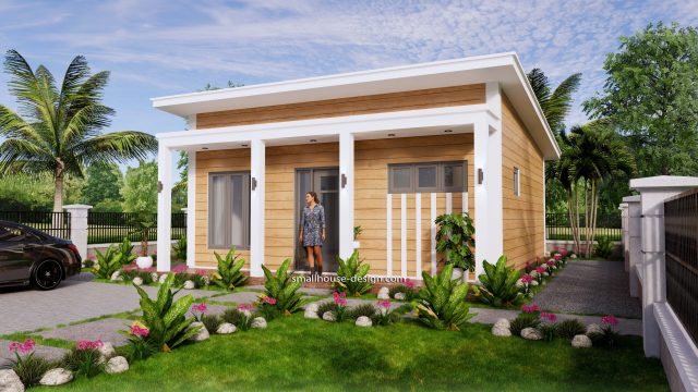 7x8 Meters Small House Design One Bedrooms 3d 3