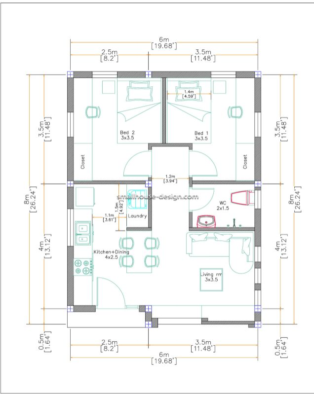 Small House Design 6x8 with 2 Beds 48 sqm Layout floor Plans Flat roof