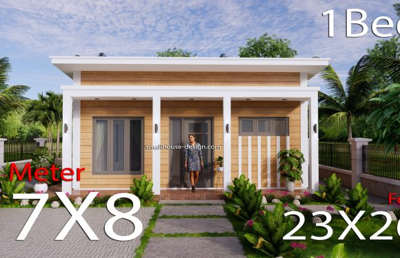 Small House Design 7×8 Meters Shed roof