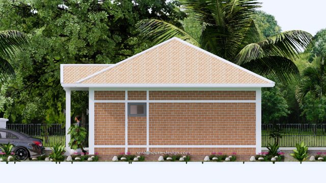 Small House Plans 7x7M with One Beds Full Layout Elevation Right 3d