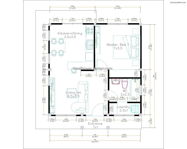 Small house 7x7 Layout Floor plan