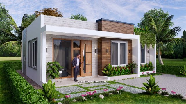 10x8 Small House Design 33x27 Feet 2 Bedrooms PDF Plan Front 3D 3