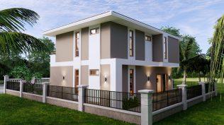 Small House Plan 11.5x9 M 38x29 Feet 3 Beds Full PDF Plan Right 3d