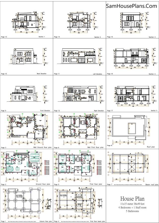 Small House Plan 11x15 M 36x49 Feet 5 Beds Full Plan All Layout floor plan