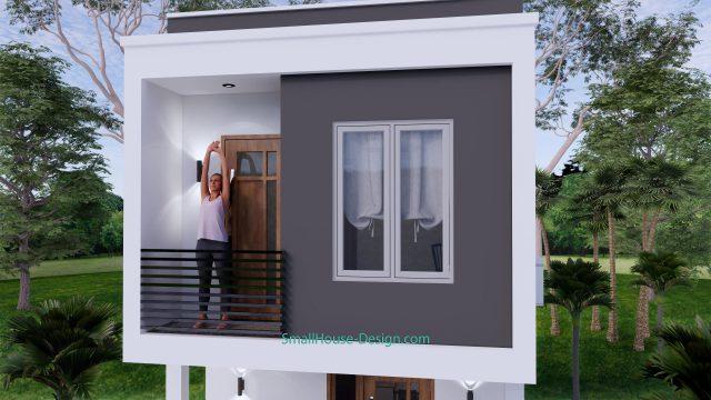 Small House Plan 4x7 M 13x23 Feet 2 Beds PDF Plan 3d front 8