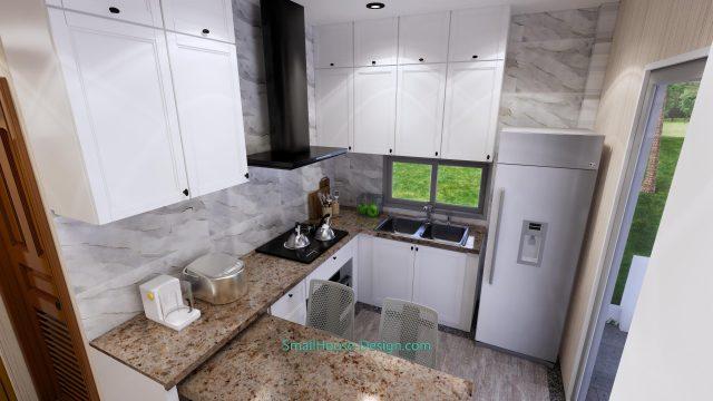 Small House Plan 4x7 M 13x23 Feet 2 Beds PDF Plan 3d kitchen