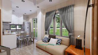 Small House Plan 4x7 M 13x23 Feet 2 Beds PDF Plan 3d living room sofa