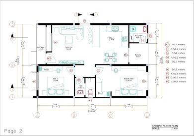 Small House Plan 8x12 M 27x40 Feet 2 Beds PDF Full Plans layout plan