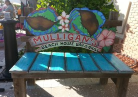 Mulligan's Beach House Restaurant blue green bench