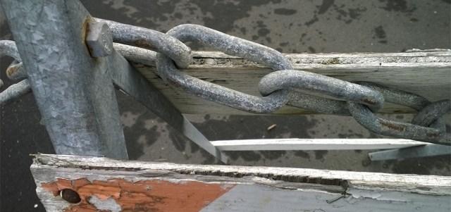 Chain and Roadblock Half Moon Bay Harbor CA