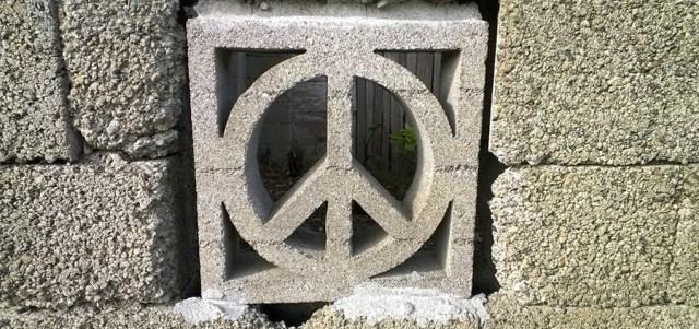 Peace Sign Cinder Block Fence