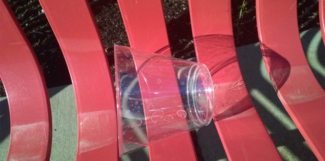Red Bench with Plastic Cup Ashland OR