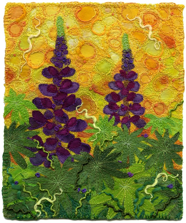 Lupines, textile art by Kirsten Chursinoff photo by Ernst Schneider