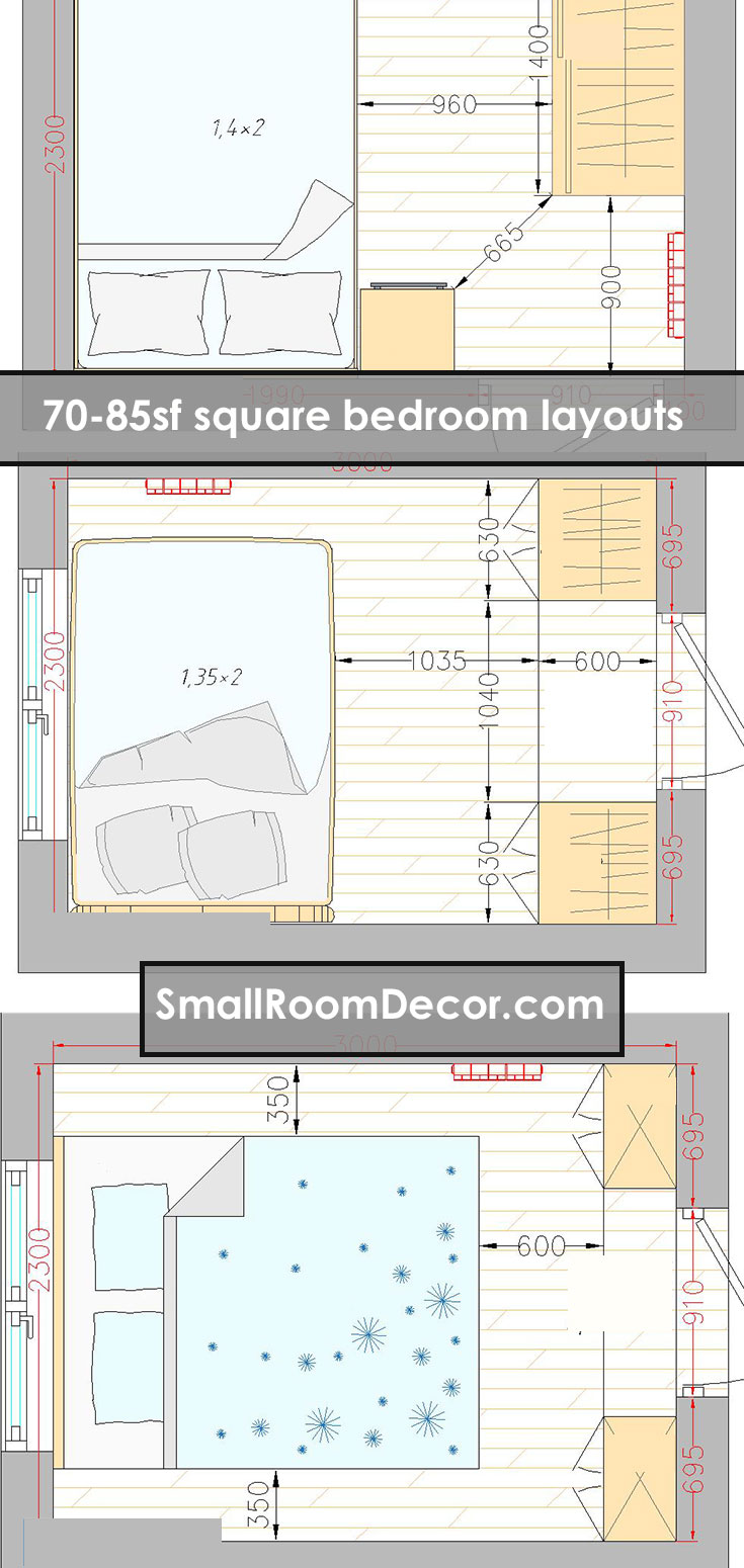 16 standart and 2 extreme Small Bedroom Layout Ideas [from 65 to 140 sf]