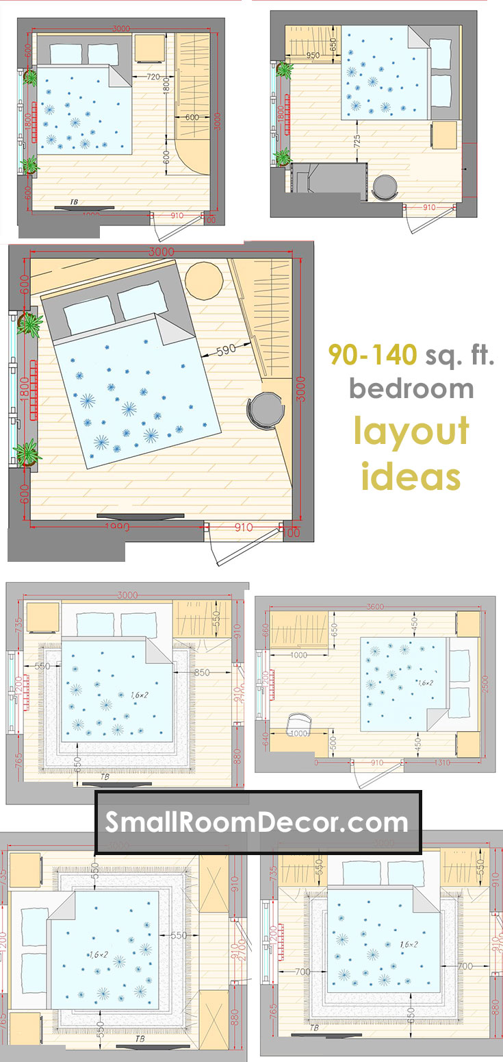 16 standart and 2 extreme Small Bedroom Layout Ideas [from ...
