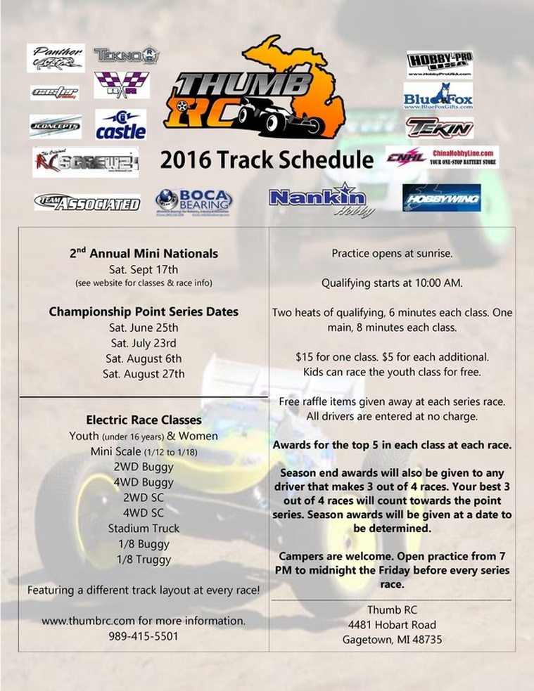 Thumb RC 2016 Track Schedule