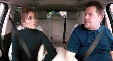 Jennifer Lopez and James Corden sing a little carpool karaoke/CBS